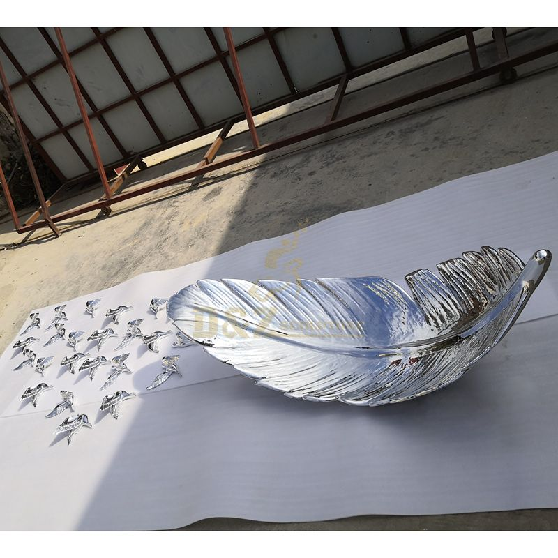 Modern art large size outdoor decoration stainless steel feather sculpture