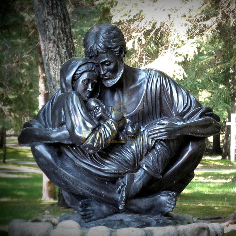Church Religious Bronze Holy Family Christ Statue
