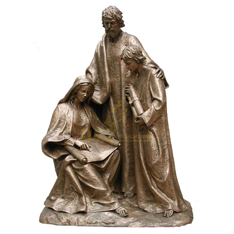 Church Religious Bronze Holy Family Christ Statue