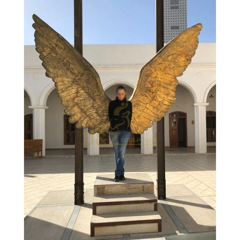 Abstract Sculpture Life Size Angel  With Bronze Wings Statue