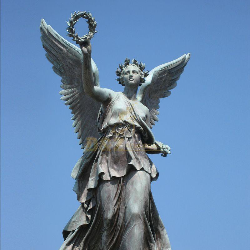 Outdoor Custom Life Size Metal Copper Bronze Flying Angel Winged Statue