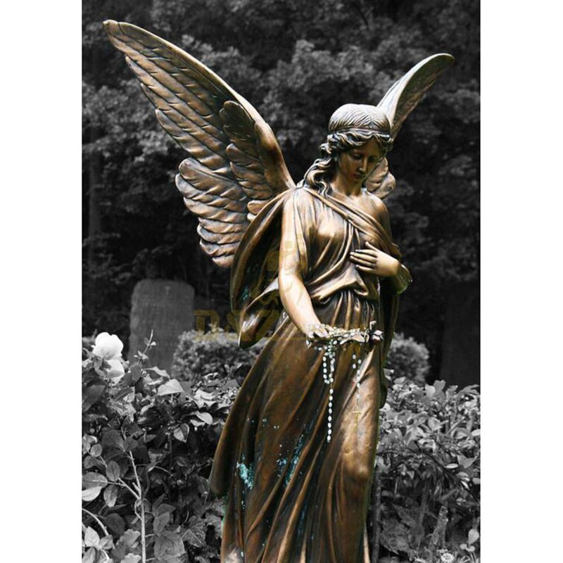 Europe Religious Decoration Bronze Winged Angel Statue Outdoor