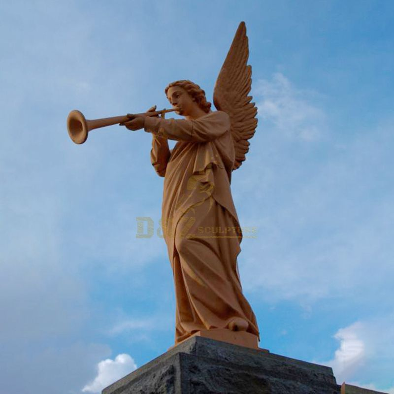Cast Bronze Music Sculpture and Playing Instrument Angel Statue