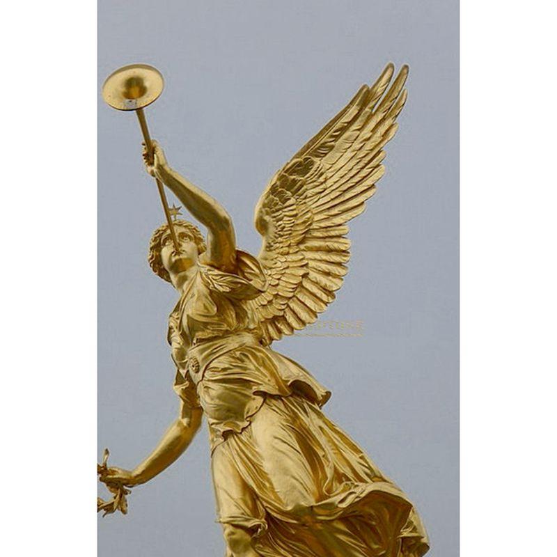 Garden Statue Bronze Angel Playing Music Sculpture
