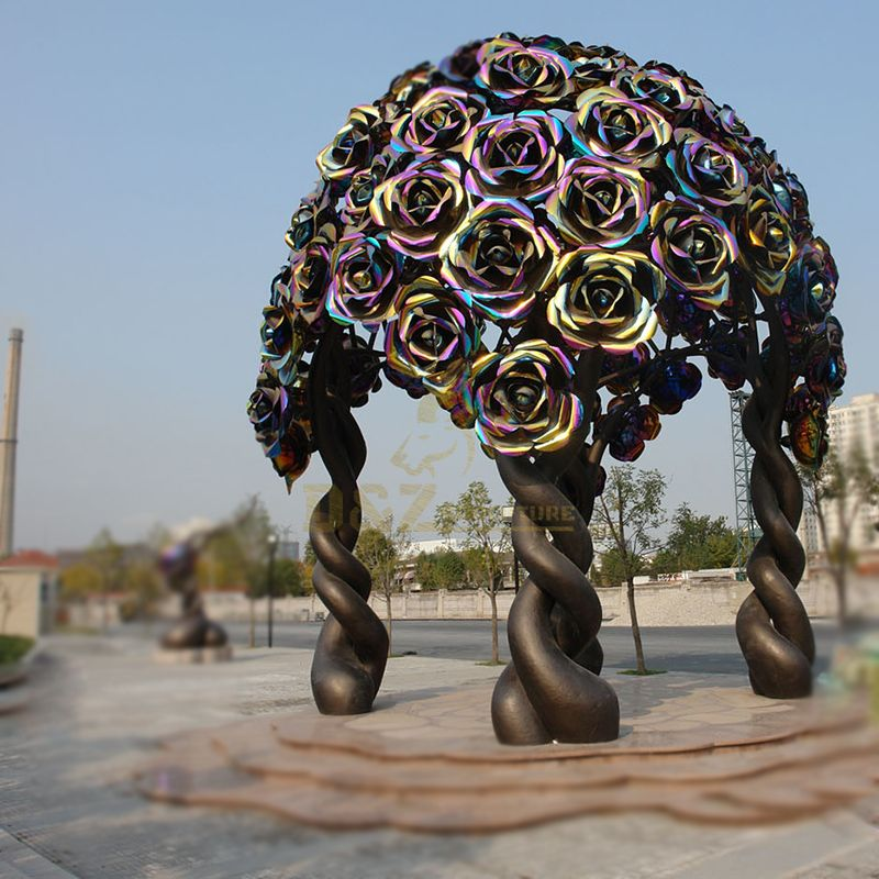 Large Rose Stainless Steel Tree Sculpture for Garden Decor