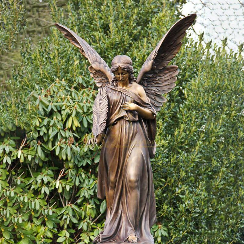 Famous Holding Quill-pen Woeful Cast Bronze Angel Girl Tombstone Sculpture for Outdoor Tomb Decoration