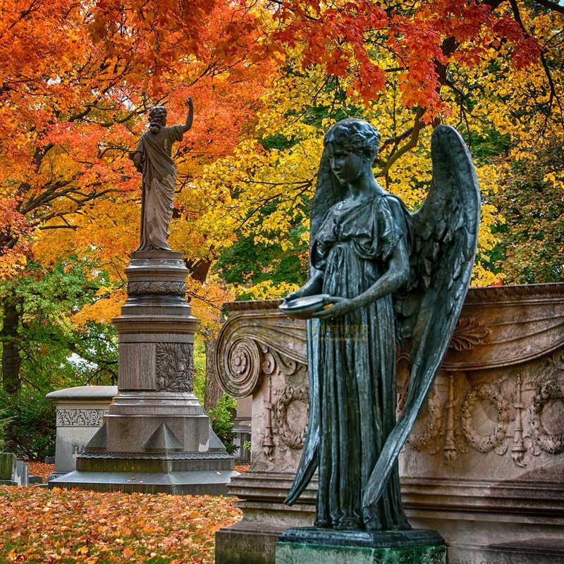 Bronze Tombstone/Gravestone With Life Size Angel Statue