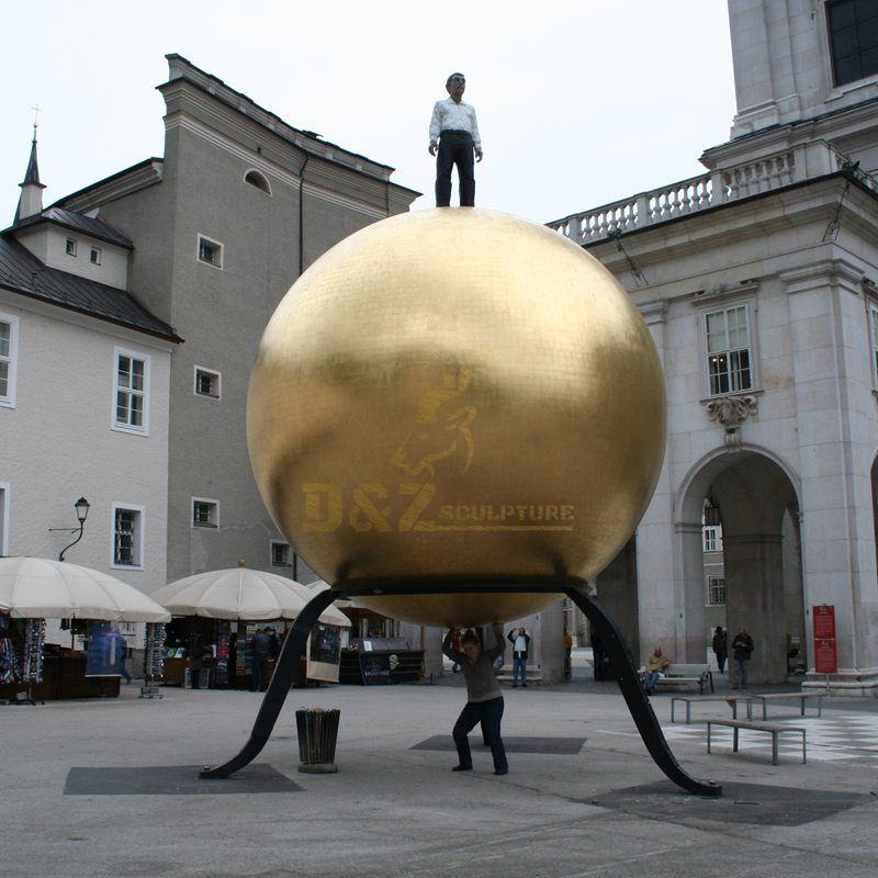 Large Mirror Polished Surface Golden Stainless Steel Metal Ball Sculpture