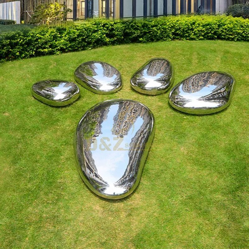 Outdoor Modern Art Stainless Steel Pebble Sculpture Metal Rock Sculpture