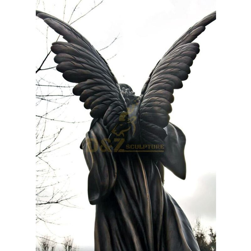 Abstract Figure Sculpture Life Size Angel Statue With Bronze Wings