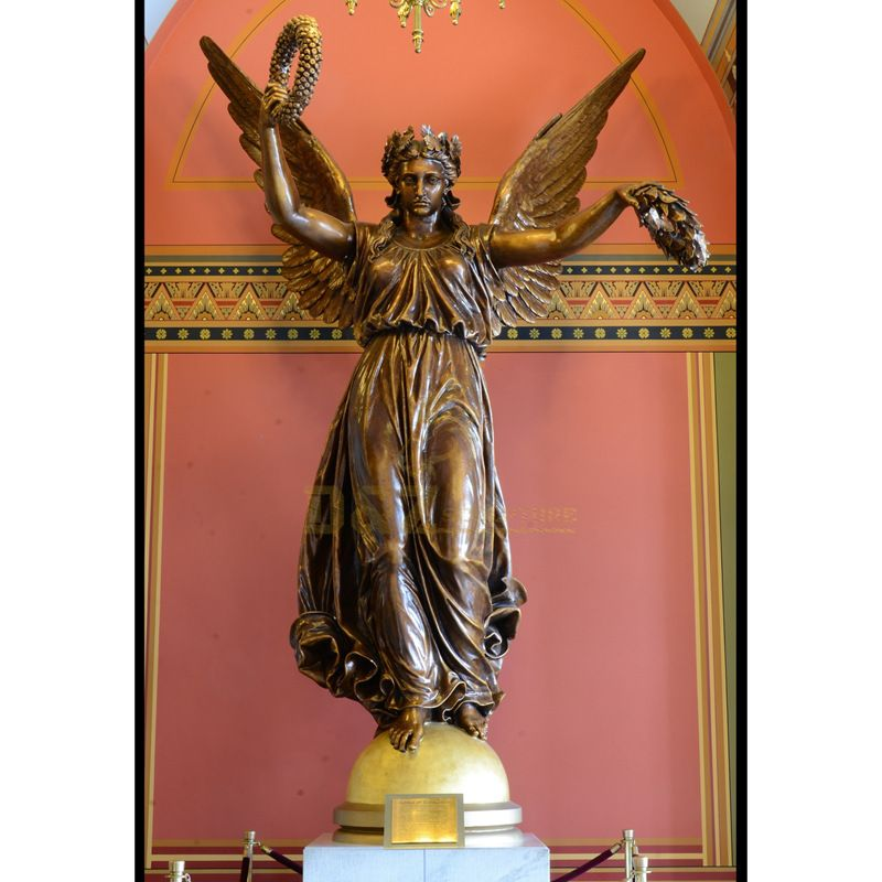 Angel Wing Female Figure Statue Bronze Statues With Garland