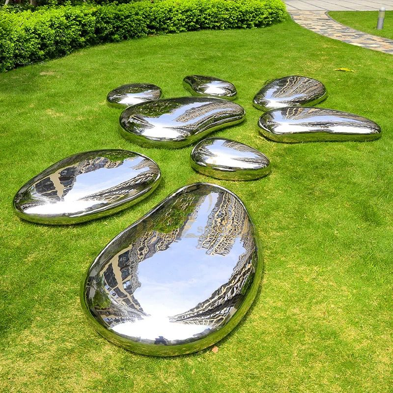Garden Decor Large Metal Art Abstract Outdoor Mirror Polished Rock Stainless Steel Stones Sculpture