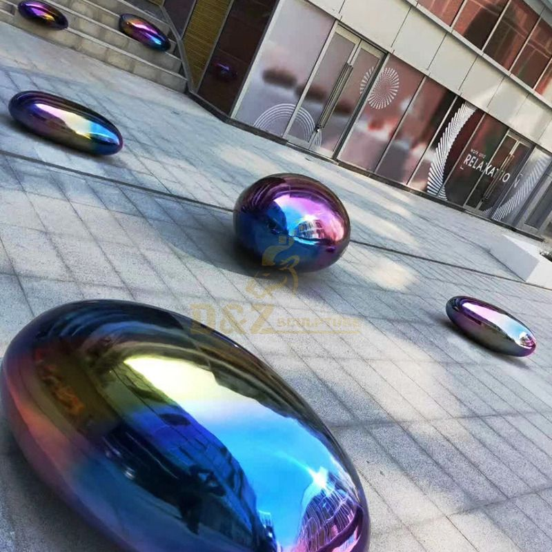 Colorful Garden Geometrical Stainless Steel Sculptured Rocks