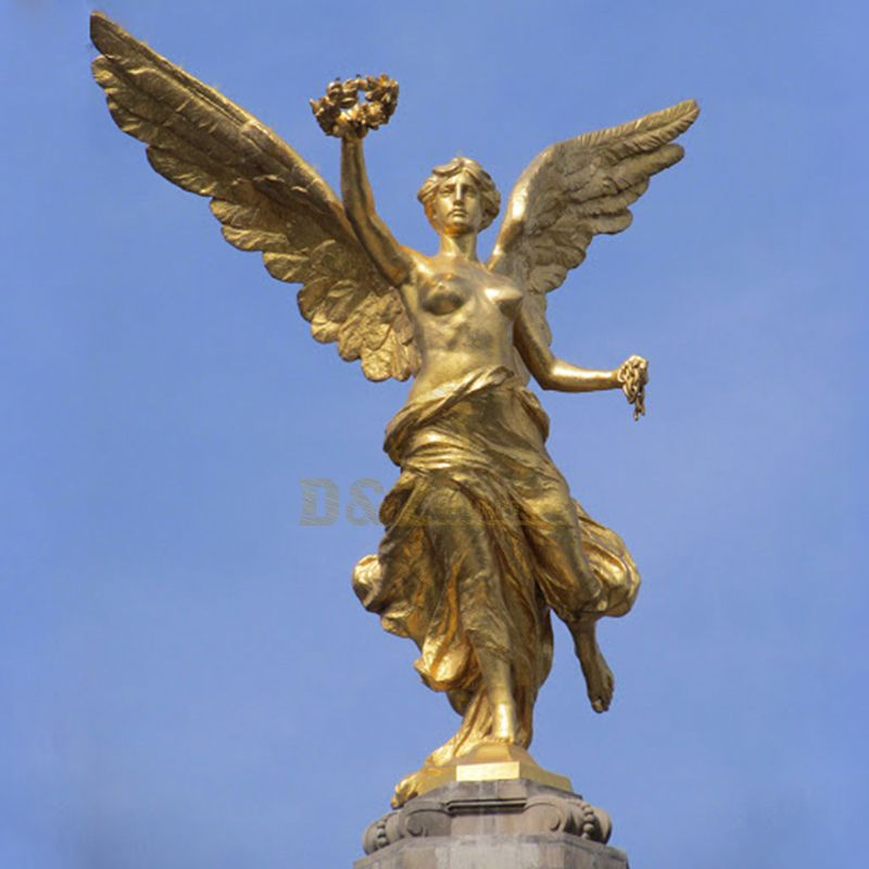 Life Size Hot Casting Bronze Angel With Wing Statue Sculpture