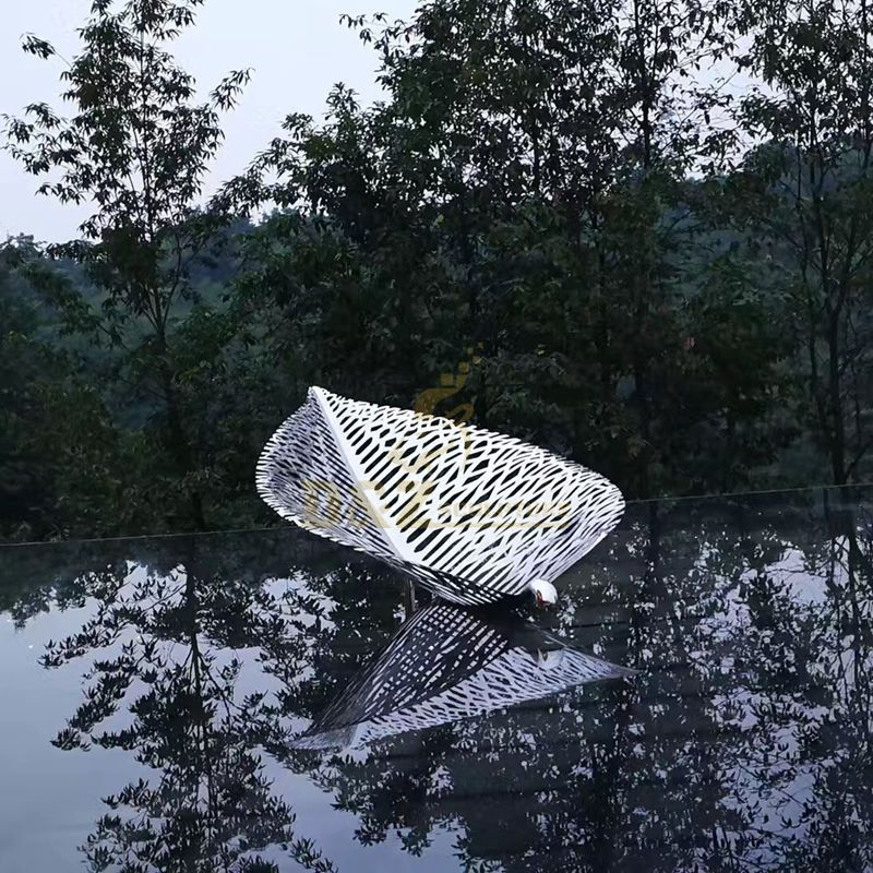 Stainless Steel Leaf Boat Famous Metal Art Sculpture