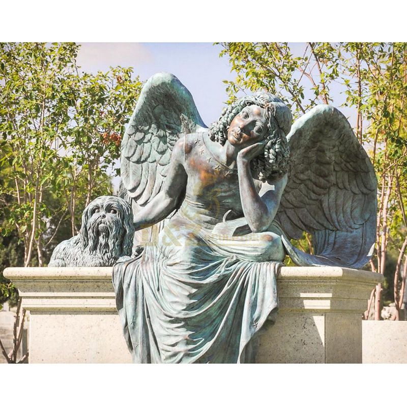Casting Bronze Life Size Black Angels Statue For Cemetery Decor