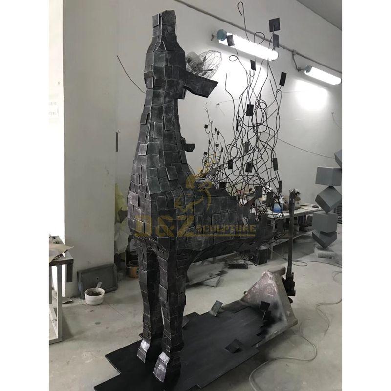 Outdoor Stainless Steel Abstract Deer Sculpture Animals