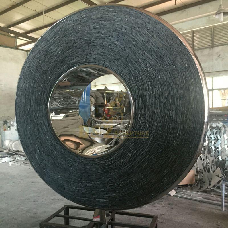 custom modern stainless steel crafts circle park sculpture
