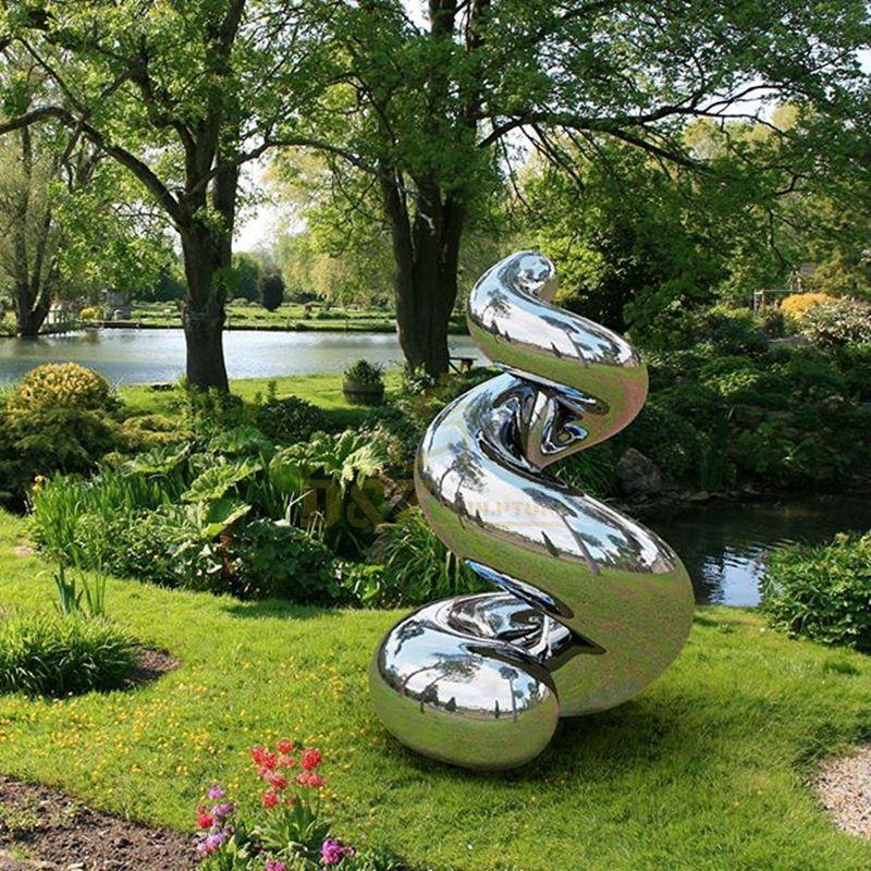 stainless steel polished mirror modern art sculpture