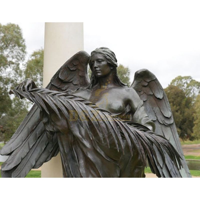 Life Size Bronze Winged Girl Angel Fairy Sculpture With Flowers Statue