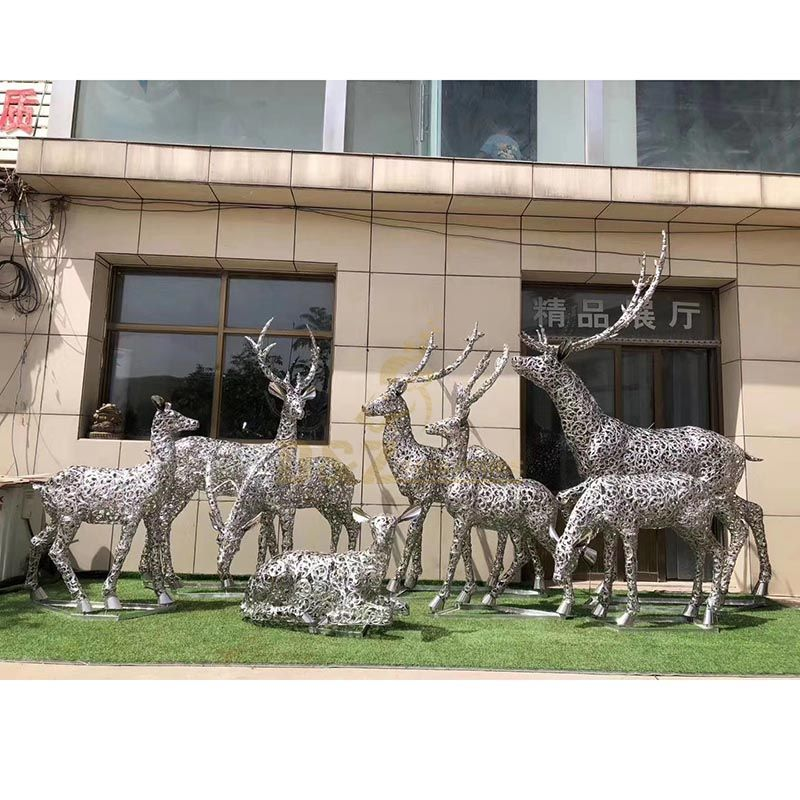 Modern Garden Stainless Steel Contemporary Deer Wire Sculpture