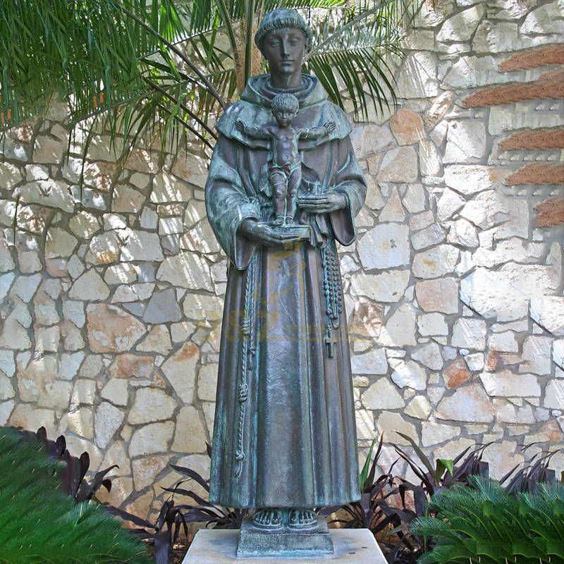 Outdoor Bronze Saint Anthony Life Size Statue Sculpture