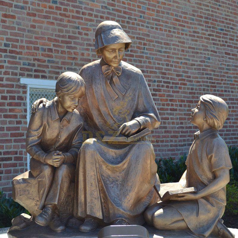 Catholic Famous Saint Elizabeth Ann Seton With Children Sculpture