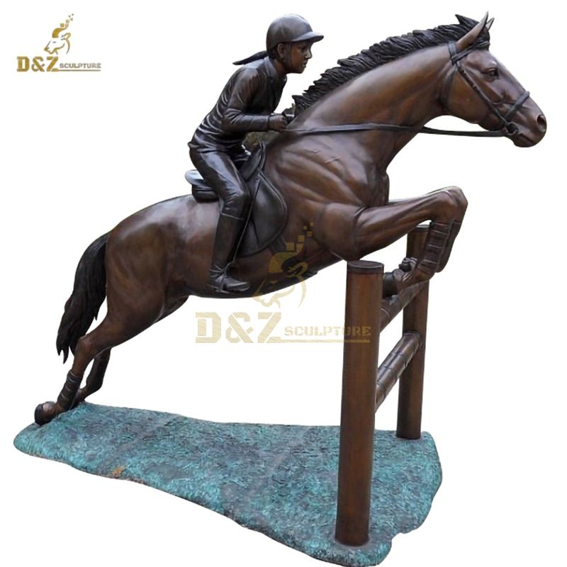 Modern Large Outdoor Man And Horse Bronze Sculpture
