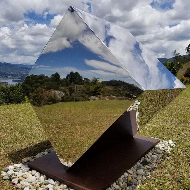 Stainless Steel Decorative Mirror Geometric Sculpture