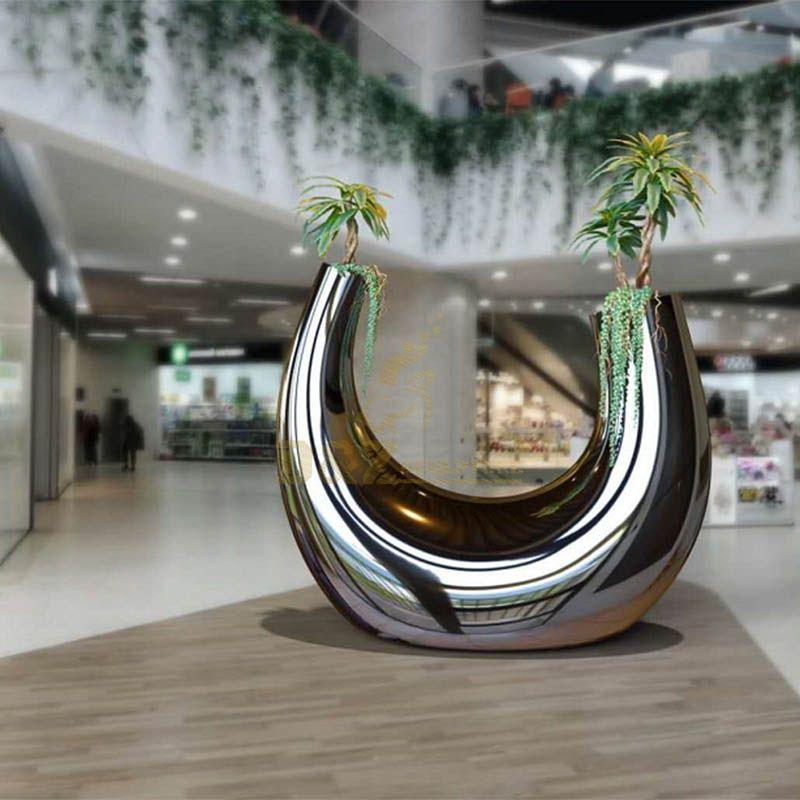 Custom Outdoor Indoor Stainless Steel Flower Pot Sculpture