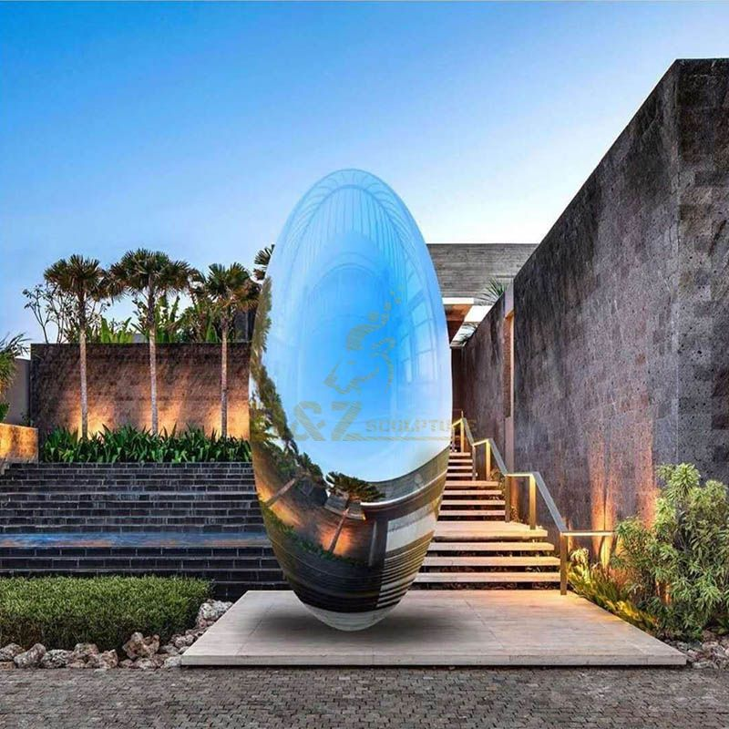 Modern Outdoor Metal Egg Sphere Mirror Stainless Steel Sculpture