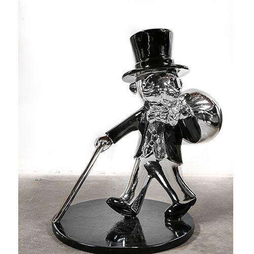 Morden Art Electrto Plated Sculpture Alec Monopoly Statue