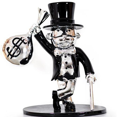 Modern Style Fiberglass Chrome Alec Monopoly Sculpture
