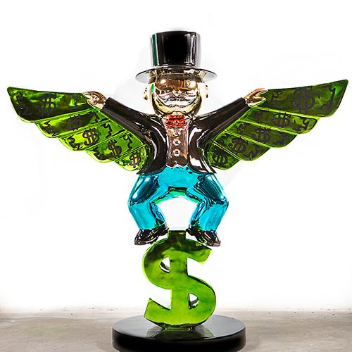 Fiberglass Rich Monopoly Statue Metal Sculpture With Wings