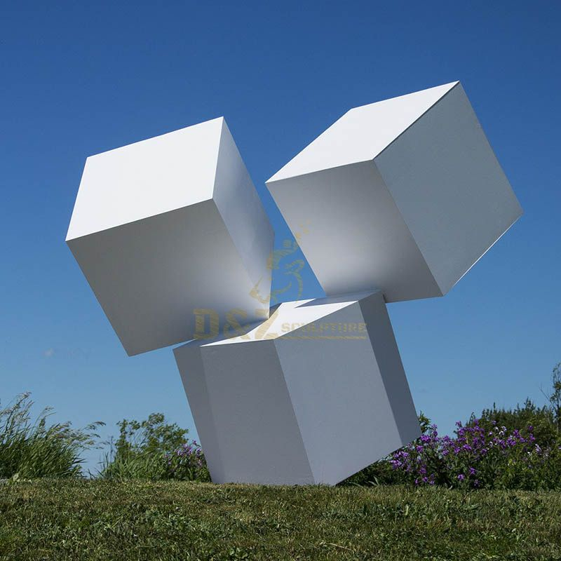 Large Modern Outdoor Stainless Steel Cube Sculpture for Decoration