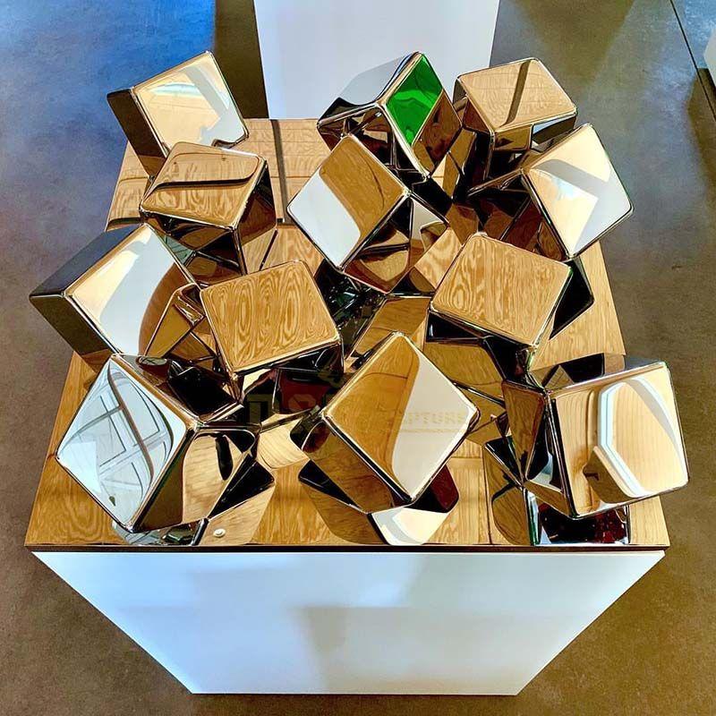 Outdoor Garden Metal Stainless Steel Cube Sculpture