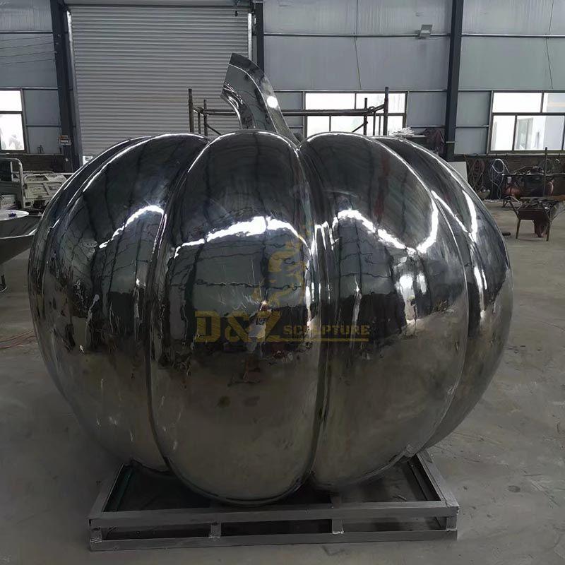 Abstract art outdoor mirror polishing stainless steel pumpkin sculpture