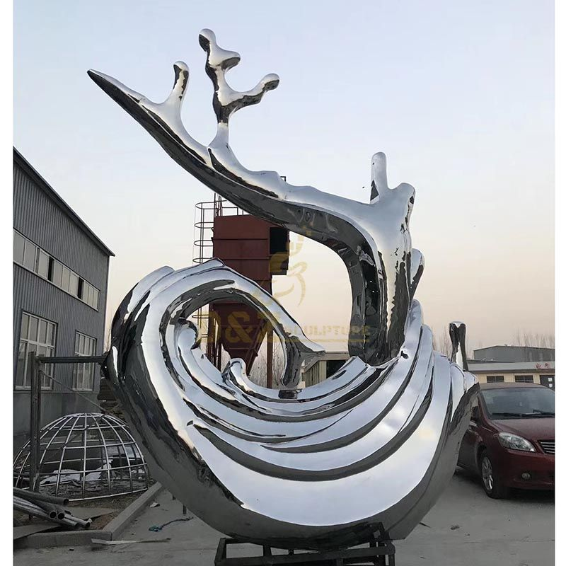 Outdoor garden decoration mirror polished Stainless steel Drops of water spray Sculpture