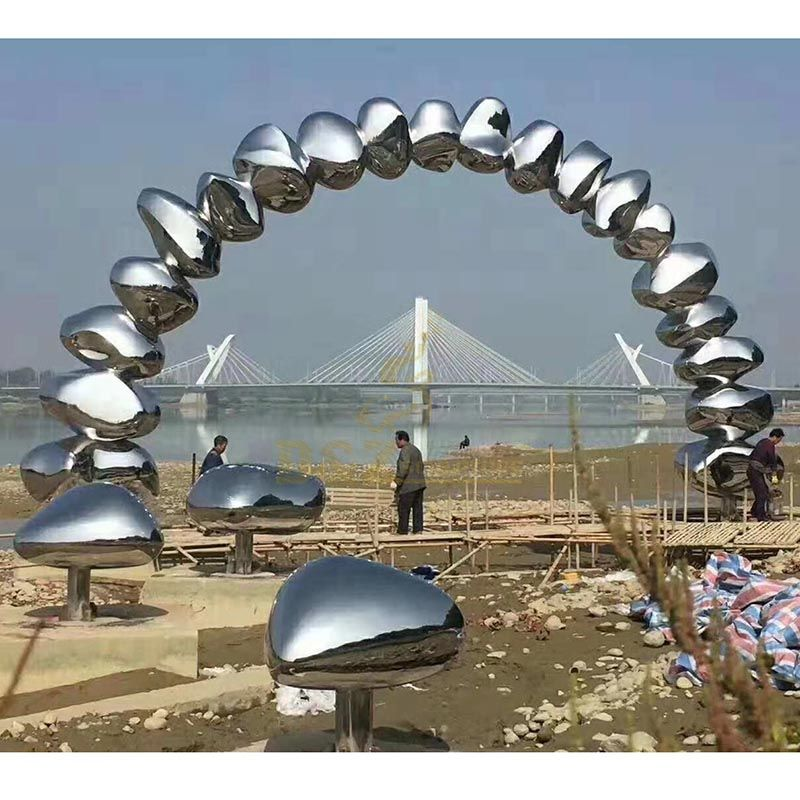 Large Stainless Steel Arched Metal Modern Mirror Sculpture