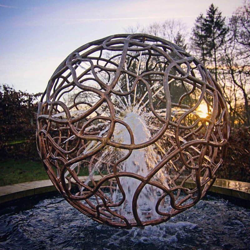 Metal Fountain Hollow Corten Steel Ball Sculpture