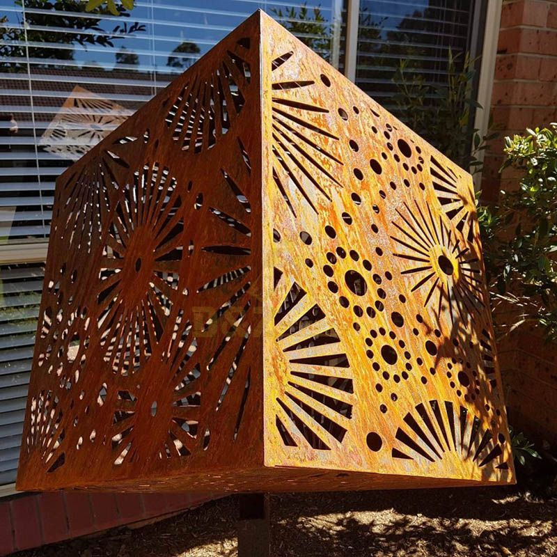 Contemporary Garden Decor Corten Steel Design Art Cube Sculpture