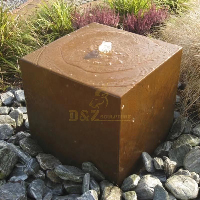 Garden Sculpture Corten Steel Water Fountain Statue