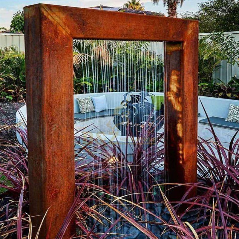 Rusty Corten Steel Garden Sculpture Water Fountain
