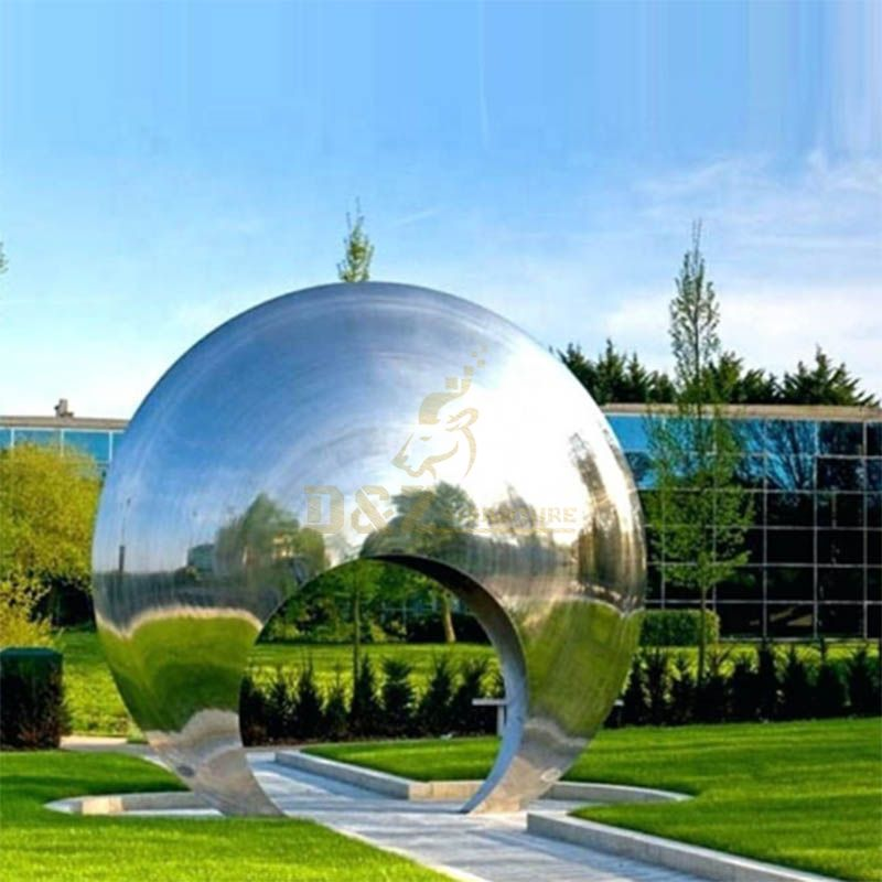 High Polished Art Modern Abstract Life Size Stainless Steel Circle Statue