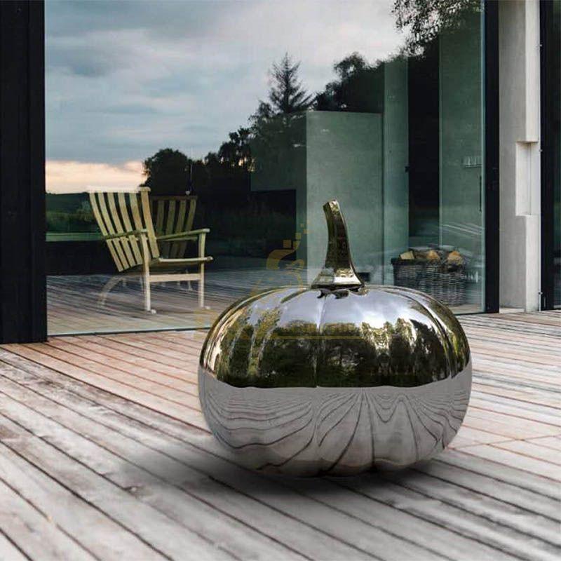 Large Outdoor Decorative Stainless Steel Pumpkin Sculpture
