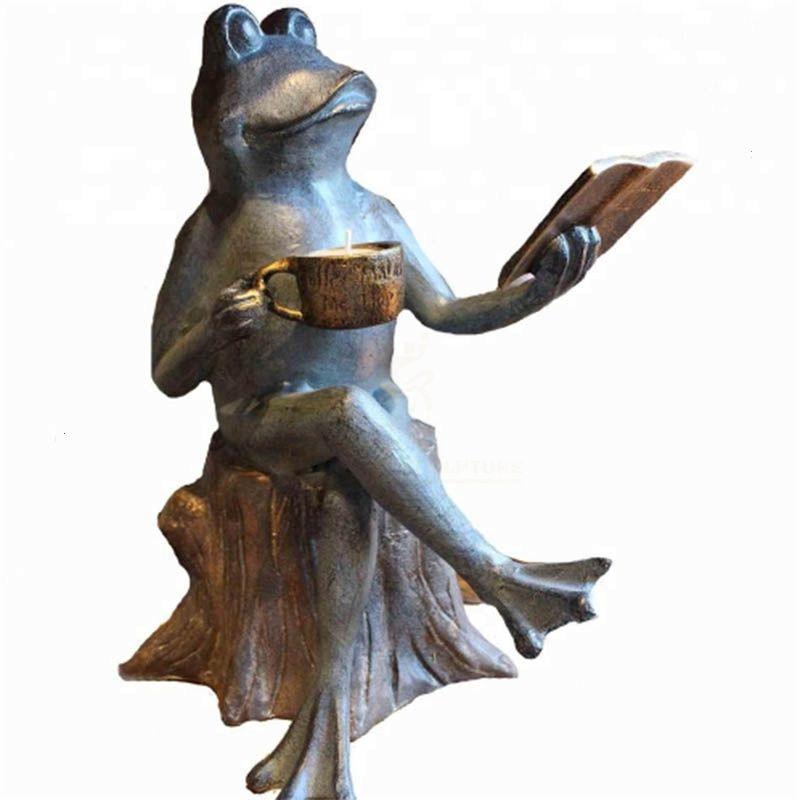 outdoor decoration metal casting bronze reading Frogs sculpture