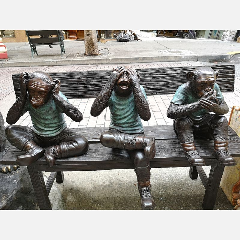 Famous design bronze three monkey sculpture