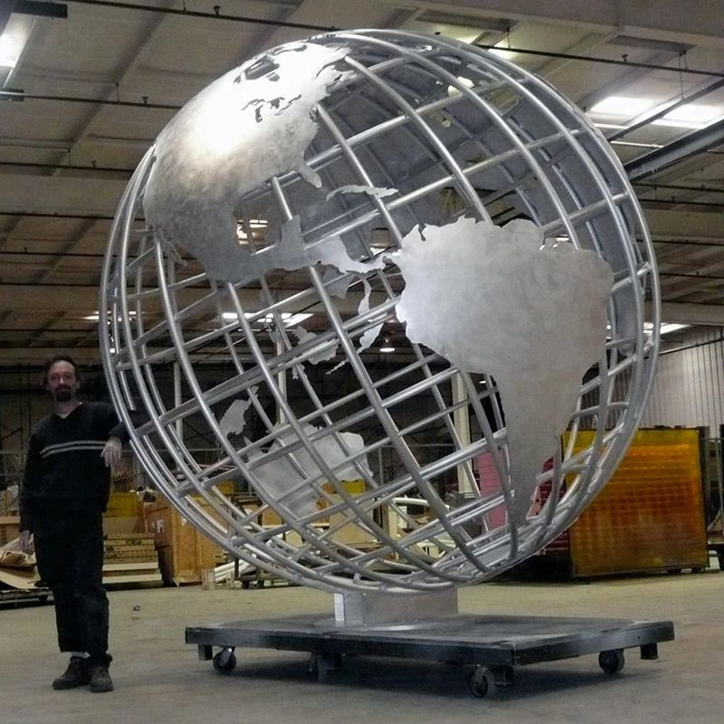 Large Stainless Steel Outdoor Metal World Globe Sculpture