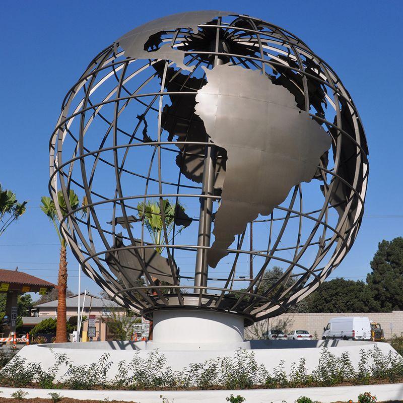 Wholesale Metal Sculpture Outdoor Garden Globe Stainless Steel Sculpture