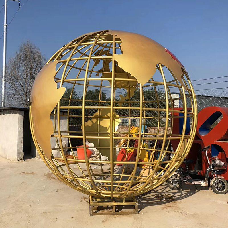 Large Stainless Steel Outdoor Golden Metal Globe Sculpture